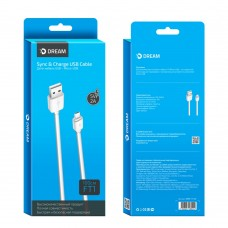 Кабель microUSB - USB Dream FT1 белый 1м. 2А